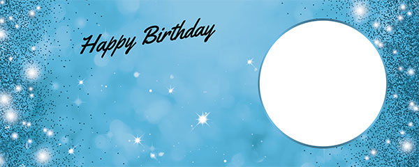 Happy Birthday Sparkles Baby Blue Design Small Personalised Banner – 4ft x 2ft