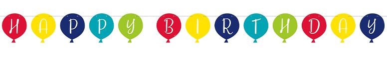 Happy Birthday Balloon Shaped Cardboard Banner 274cm