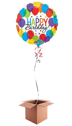 Happy Birthday Balloons Round Foil Balloon - Inflated Balloon in a Box Product Image