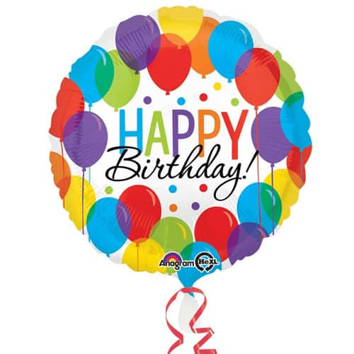 Happy Birthday Balloons Round Foil Helium Balloon 43cm / 17Inch Product Image