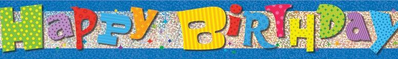 Happy Birthday Prismatic Foil Banner 365cm