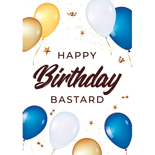Happy Birthday Bastard Adult A3 Poster PVC Party Sign Decoration 42cm x 30cm Product Gallery Image