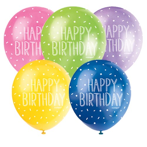 Happy Birthday Biodegradable Assorted Latex Balloons 30cm / 12 in - Pack of 5 Product Image