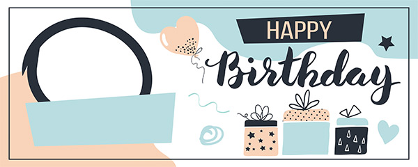 Happy Birthday Blue Design Small Personalised Banner – 4ft x 2ft