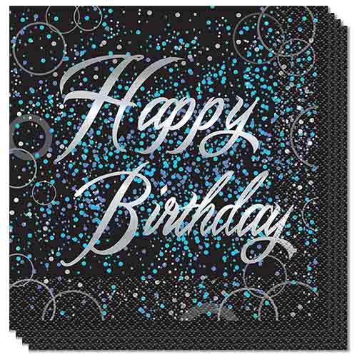 Happy Birthday Blue Foil Glitz Luncheon Napkins 33cm 2Ply - Pack of 16