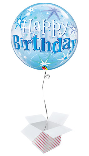 Happy Birthday Blue Starbust Sparkle Bubble Helium Qualatex Balloon - Inflated Balloon in a Box Product Image