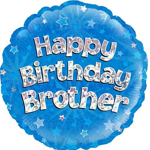Happy Birthday Brother Blue Holographic Round Foil Helium Balloon 46cm / 18Inch Product Image