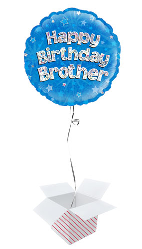 Happy Birthday Brother Blue Holographic Round Foil Helium Balloon - Inflated Balloon in a Box Product Image