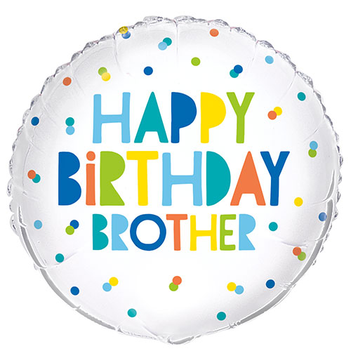 Happy Birthday Brother Colourful Round Foil Helium Balloon 46cm / 18 in Product Image