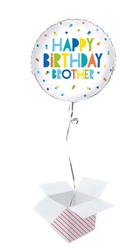 Happy Birthday Brother Colourful Round Foil Helium Balloon - Inflated Balloon in a Box Product Image
