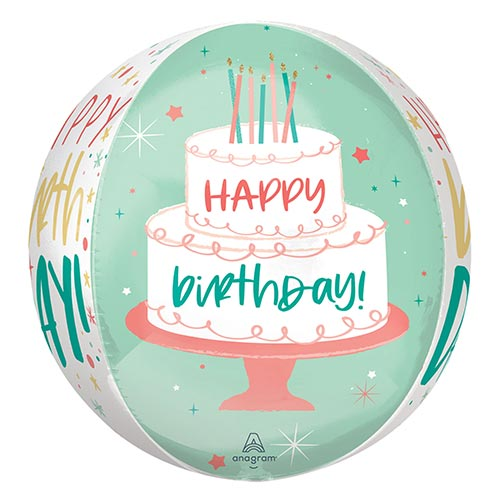 Happy Birthday Cake Orbz Foil Helium Balloon 38cm / 15 in Product Gallery Image