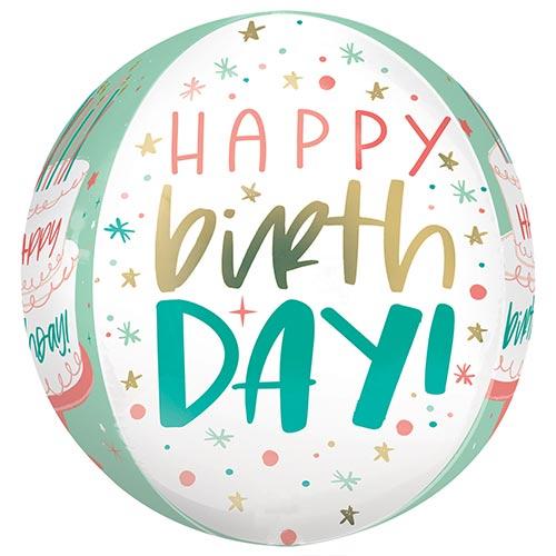 Happy Birthday Cake Orbz Foil Helium Balloon 38cm / 15 in