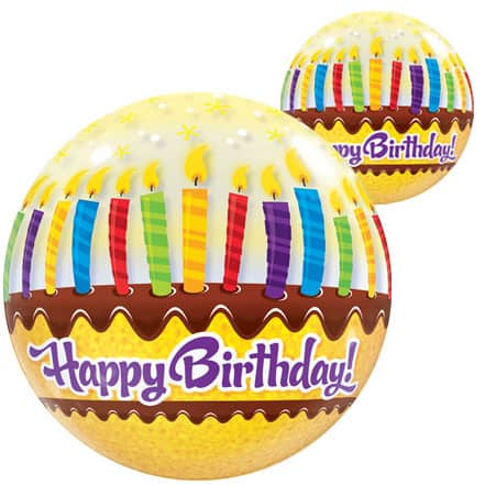 Happy Birthday Candles Bubble Helium Qualatex Balloon 56cm / 22 in Product Image