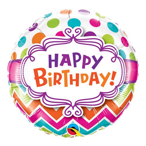 Happy Birthday Chevron And Dots Round Foil Helium Qualatex Balloon 46cm / 18 in Product Image