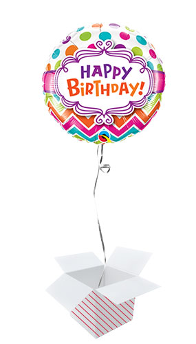 Happy Birthday Chevron And Dots Round Foil Helium Qualatex Balloon - Inflated Balloon in a Box Product Image
