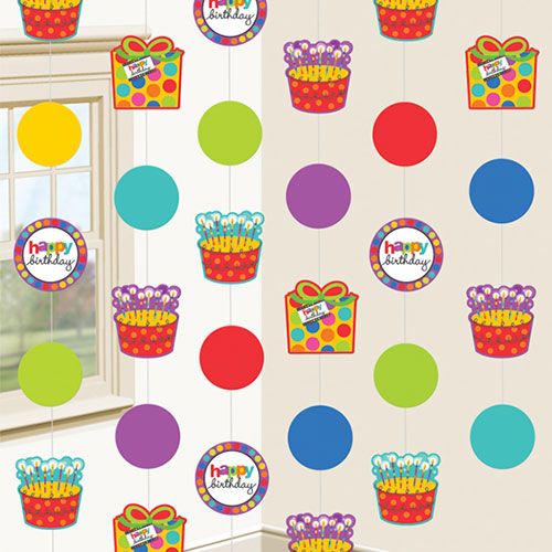 Happy Birthday Circles String Hanging Decorations - Pack of 6