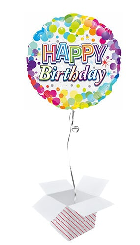 Happy Birthday Colourful Confetti Round Foil Helium Balloon - Inflated Balloon in a Box Product Image