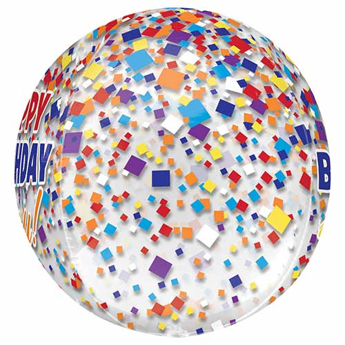 Happy Birthday Confetti Clear Orbz Foil Helium Balloon 38cm / 15 in Product Gallery Image