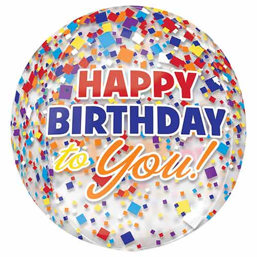 Happy Birthday Confetti Clear Orbz Foil Helium Balloon 38cm / 15 in Product Image