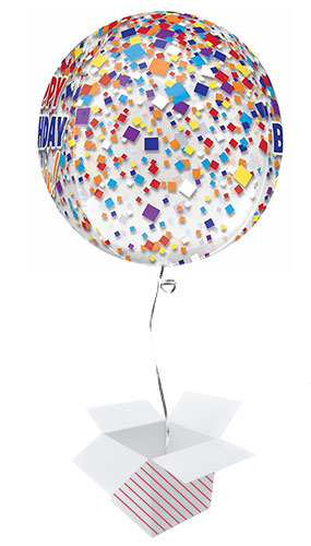 Happy Birthday Confetti Clear Orbz Foil Helium Balloon - Inflated Balloon in a Box Product Gallery Image