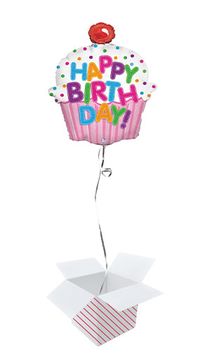 Happy Birthday Cupcake Holographic Helium Foil Giant Balloon - Inflated Balloon in a Box Product Image