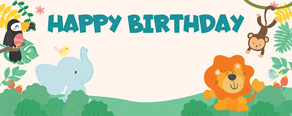 Happy Birthday Cute Jungle Animals Design Small Personalised Banner – 4ft x 2ft