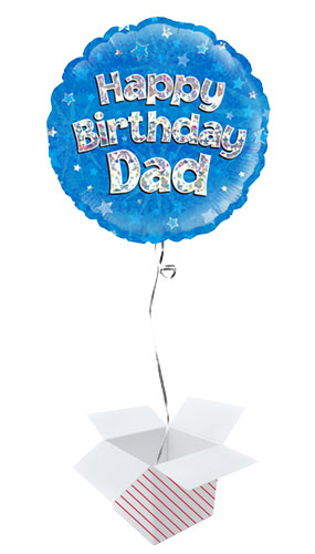 Happy Birthday Dad Blue Holographic Round Foil Helium Balloon - Inflated Balloon in a Box Product Image