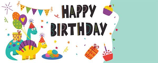 Happy Birthday Dinosaur Design Small Personalised Banner – 4ft x 2ft