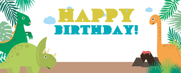 Happy Birthday Dinosaur Greenery Design Medium Personalised Banner - 6ft x 2.25ft