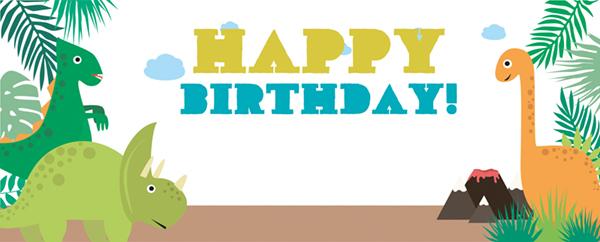 Happy Birthday Dinosaur Greenery Design Small Personalised Banner - 4ft x 2ft