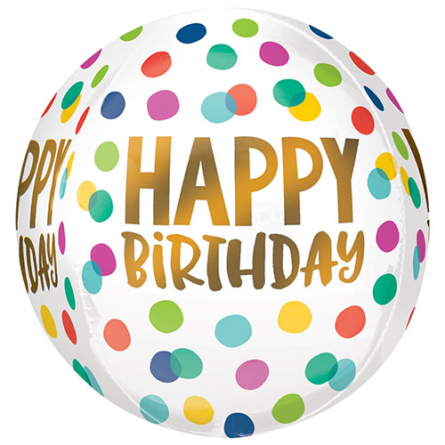 Happy Birthday Dots Orbz Foil Helium Balloon 38cm / 15 in Product Image