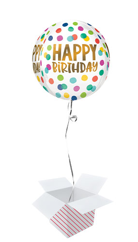 Happy Birthday Dots Orbz Foil Helium Balloon - Inflated Balloon in a Box Product Image