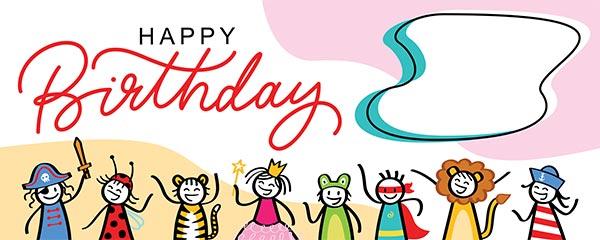 Happy Birthday Fairy Tale Design Medium Personalised Banner – 6ft x 2.25ft