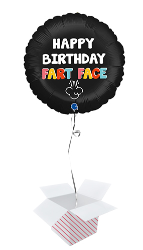 Happy Birthday Fart Face Round Foil Helium Balloon - Inflated Balloon in a Box Product Image