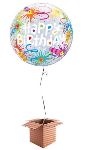 Happy Birthday Fireworks Bubble Helium Qualatex Balloon - Inflated Balloon in a Box Product Image