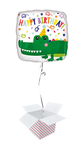 Happy Birthday Alligator Square Shape Foil Helium Balloon - Inflated Balloon in a Box Product Image