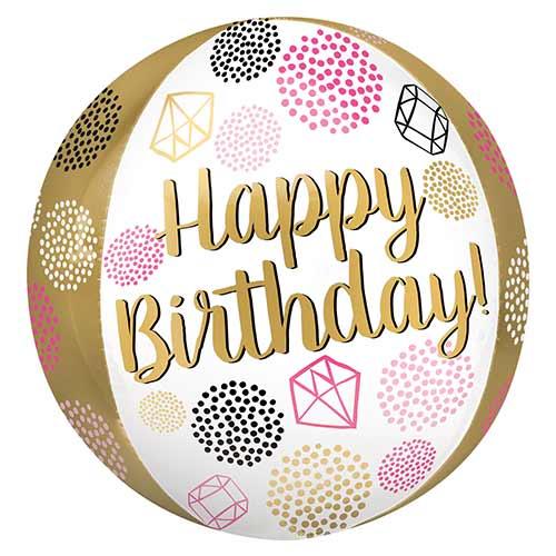 Happy Birthday Gems Orbz Foil Helium Balloon 38cm / 15 in