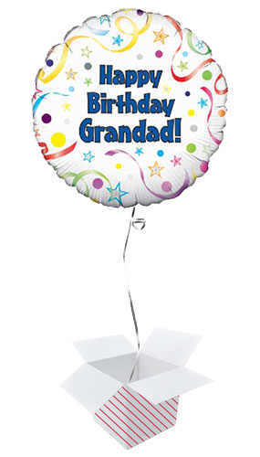 Happy Birthday Grandad Round Foil Helium Balloon - Inflated Balloon in a Box Product Image