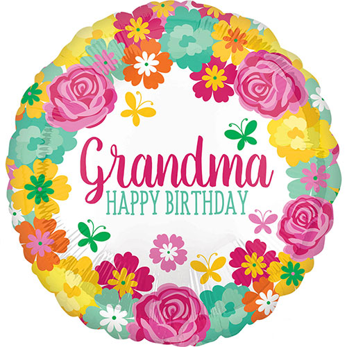 Happy Birthday Grandma Floral Round Foil Helium Balloon 43cm / 17 Inch Product Image