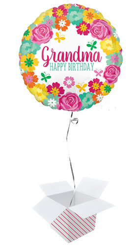 Happy Birthday Grandma Floral Round Foil Helium Balloon - Inflated Balloon in a Box Product Image