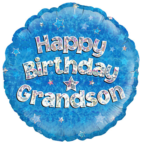 Happy Birthday Grandson Blue Holographic Round Foil Helium Balloon 46cm / 18Inch Product Image