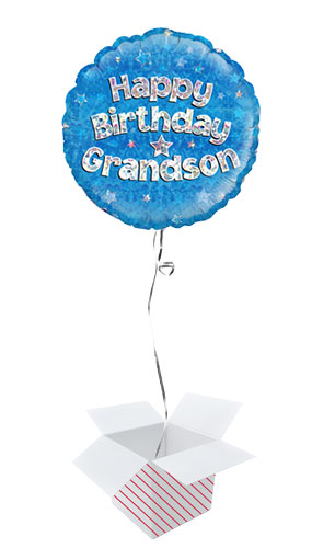 Happy Birthday Grandson Blue Holographic Round Foil Helium Balloon - Inflated Balloon in a Box Product Image