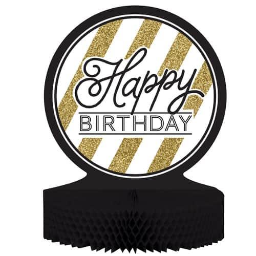 Happy Birthday Black And Gold Honeycomb Centrepiece - 30cm