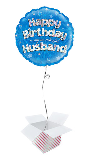 Happy Birthday Husband Blue Holographic Round Foil Helium Balloon - Inflated Balloon in a Box Product Image