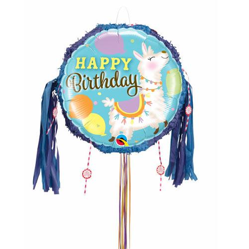 Happy Birthday Llama Pull String Pinata Product Image