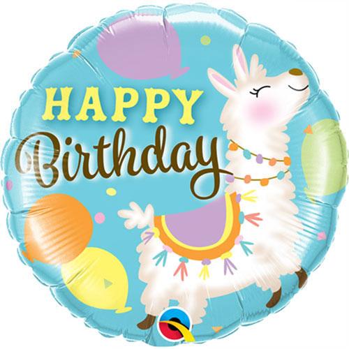 Happy Birthday Llama Round Foil Helium Qualatex Balloon 46cm / 18Inch Product Image