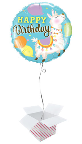 Happy Birthday Llama Round Foil Helium Qualatex Balloon - Inflated Balloon in a Box Product Image