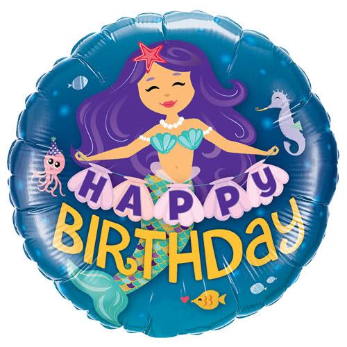 Happy Birthday Mermaid Helium Foil Qualatex Balloon 46cm / 18Inch Product Image
