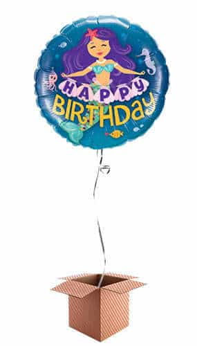 Happy Birthday Mermaid Helium Foil Qualatex Balloon - Inflated Balloon in a Box Product Image
