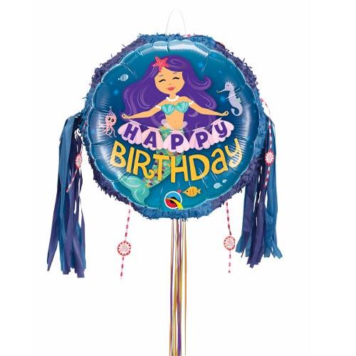 Happy Birthday Mermaid Pull String Pinata Product Image